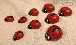 9 Piece Ladybug Family Great For Yard Garden Decor - Resin