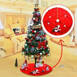 90cm Embroidered Christmas Tree Skirt Apron Xmas Ornament Ho