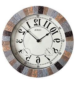 Backyard Expressions 914932 Indoor/Outdoor Clock, Gray, Blac