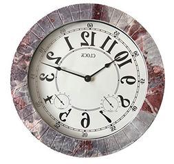 Backyard Expressions 914933 Indoor/Outdoor Clock, Gray, Blac