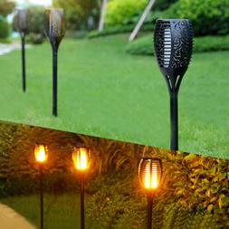 LED Flickering Torch Light Black Outdoor Solar Power Flame L