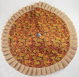"""Autumn / Fall Tabletop Tree Skirt - 24"""" Sparkly Leaves with"""