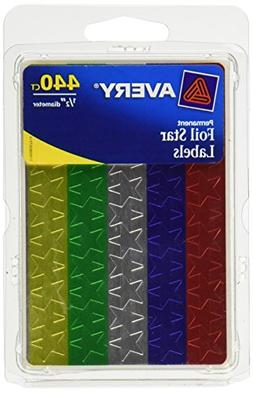 Avery 0.5-Inch DiameterAssorted Foil Star Labels, Pack of 44