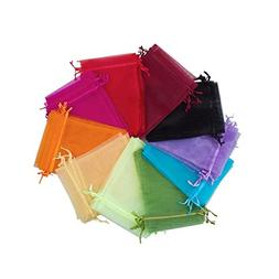 BALORAY 100pc 5x7 Inches Organza favor bags Mixed Colors Jew