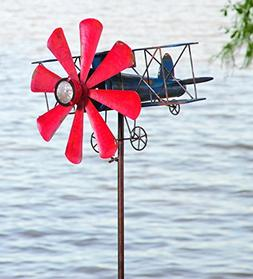 Biplane With Solar Light Metal Wind Spinner Weatherproof Out