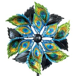 Bits and Pieces - Peacock Feather Wind Spinner - 14 Inch Dec