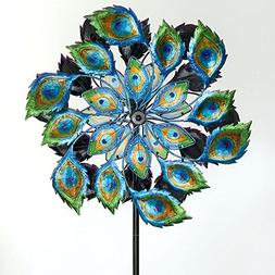 Bits and Pieces - Solar Peacock Wind Spinner - Decorative So