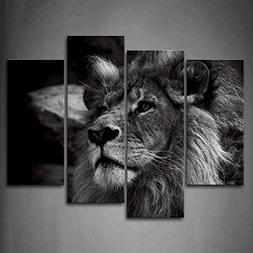 Black And White Lion Head Portrait Wall Art Painting Picture