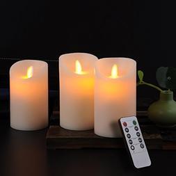 "Calm-life Classic Pillar Real Wax Flameless LED Candles 3"" X"