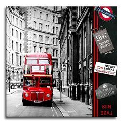 Canvas Print WallArtPainting LondonStreetScene Red