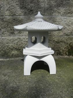 """Cement PAGODA Lantern 16""""H, 3-piece GRAY CONCRETE Outdoor Ga"""