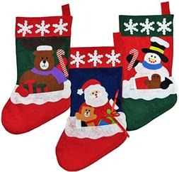 Christmas Stockings for Kids - Set of 3 - Family Fireplace D