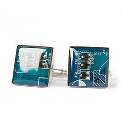 Circuit board Cufflinks - blue geek cufflinks