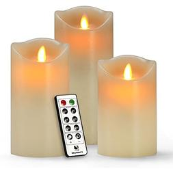 comenzar Flameless Candles, Battery Candles Set of 3 Battery