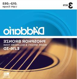 D'Addario EJ16-3D Phosphor Bronze Acoustic Guitar Strings,