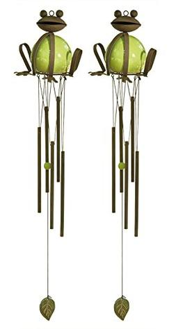DII Stoneware and Iron Frog Wind Chime for Outdoor Garden Us