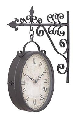 Deco 79 35414 Metal Outdoor Double Clock, 14 by 17-Inch