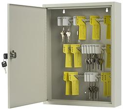 Displays2go Locking Key Box Cabinet, 60 Hooks, Wall Mounted,