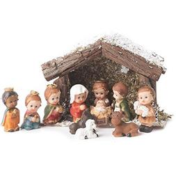 Factory Direct Craft Miniature Whimsical Nativity and Stable