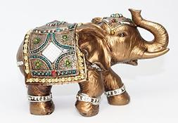 "Feng Shui Brass Color 6"" Elegant Elephant Trunk Statue Wealt"