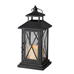 Gerson Metal and Plexiglass Cross-Bar Lantern with 3 by 3-In