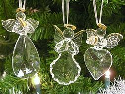 Angel Ornaments - Set of 3 Glass Angel Ornaments with Gold T