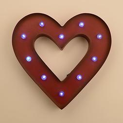 "Glitzhome 14.06""H Marquee LED Lighted Heart Sign Battery Ope"