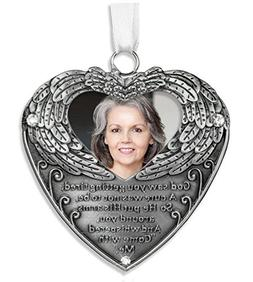 Heart Shaped Photo Ornament with Angel Wings and Touching Po