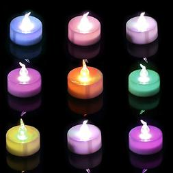 Homemory Colorful Christmas Tea Lights, Flameless Flickering