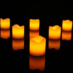 "2"" Wax LED Flameless Candles, Power by Battery, Pack of 12 E"