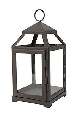 "Hosley 12"" High Clear Glass & Iron, Classic Style Lantern. I"