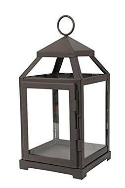 "Hosley 12"" High Clear Glass & Iron, Classic Style Lantern. I"