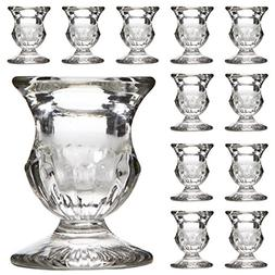 """Hosley Set of 12 Glass Taper Candle Holders - 2.5"""" High. Ide"""