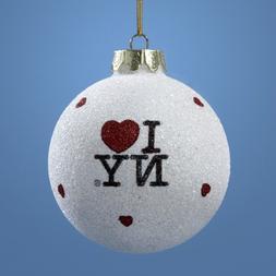 """I Love New York Kurt Adler Glass """"I Love NY"""" Ball Ornament"""