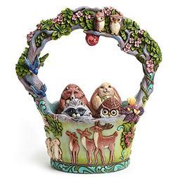 Jim Shore Heartwood Creek Woodland Basket with 4 Eggs
