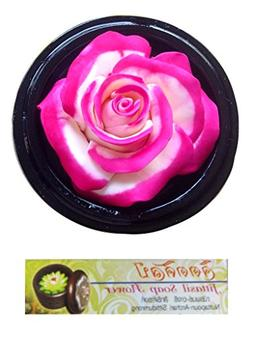 Jittasil Hand-Carved Soap Flower, Pink White Rose, Two-tone