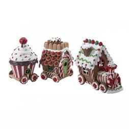 Kurt Adler 4.3-Inch Claydough 3D LED Gingerbread Train Set o
