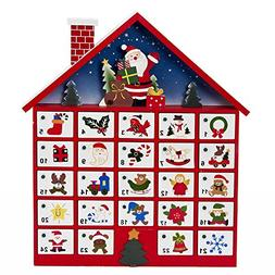 Kurt Adler C6300 Wooden Santa House Advent Calendar W/O Orna