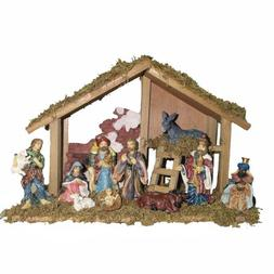 Kurt Adler Nativity Set with 15-Inch Wooden Stable and 10 Re