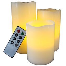 LED Lytes Flickering Flameless Candles - Set of 3 Ivory Wax