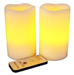 LED Lytes Flameless Candles Flickering - 2 Ivory Wax Amber Y