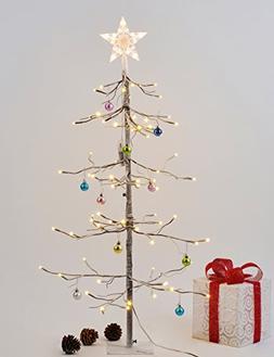 Lightshare 3 Feet 72L LED Fir Snow Tree with 10L LED Star Tr