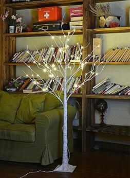 Lightshare 4FT 48L LED Birch Tree, 10L LED Icicle Twinkling