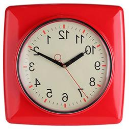 Lily's Home Square Retro Kitchen Wall Clock, Large Dial Quar