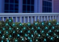 Lot of 2--Holiday Time 150 Blue LED Net Lights-New-Green Wir