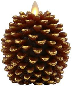 Luminara Pine Cone Candles: 3.5 x 4 Unscented, Battery Opera