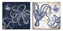 Mariner's Compass and Map Indigo and Grey Octopi Coastal Art