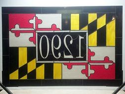 Maryland Flag Transom Window with House Number .