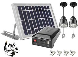 MicroSolar - Lithium Battery - 2X2W LED Lamps - 1 USB - Angl
