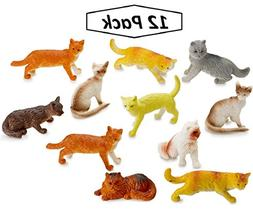 "Miniature Authentic Cat Figurines Toys - 12 Assorted , 2"" In"